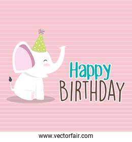 happy birthday card with cute elephant character