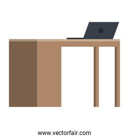 office desk with laptop
