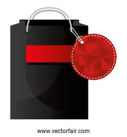 shopping bag with tag isolated icon