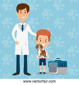 boy with dog and veterinary doctor characters