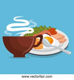 delicious coffee with breakfast
