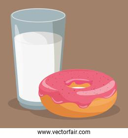 delicious milk with donut