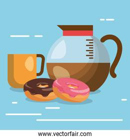 delicious coffee in teapot and donuts