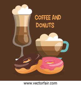 delicious iced coffee cup and donuts