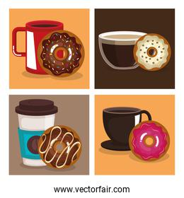coffee and donuts set icons
