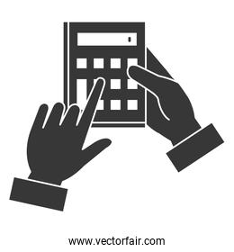 hand user with calculator device isolated icon