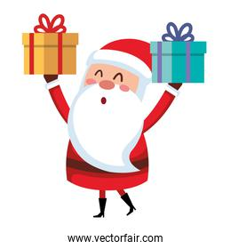 cute santa claus with gift comic character