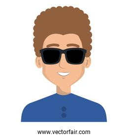 young man with sunglasses character