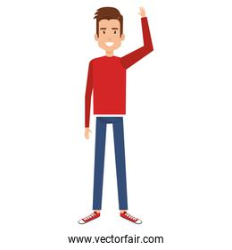 young man with hand up avatar character