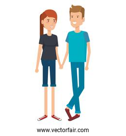 young couple avatars characters