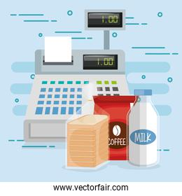 cash register with groceries
