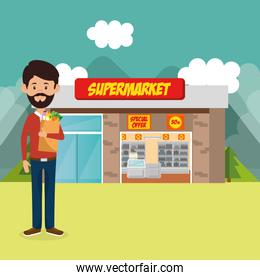 consumer with shopping bag of groceries