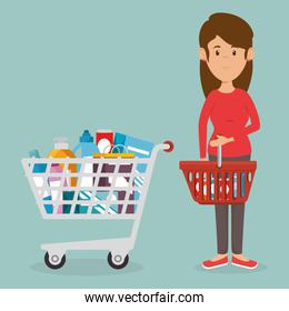 consumer with shopping cart of groceries