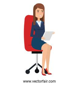 beautiful businesswoman with documents in chair