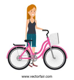 young woman in bicycle