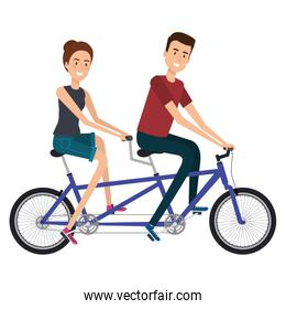 couple in bicycle tandem