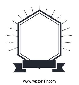 frame with ribbon isolated icon