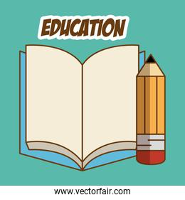 book and pencil education icons