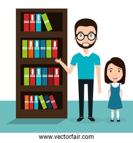 girl with teacher and library