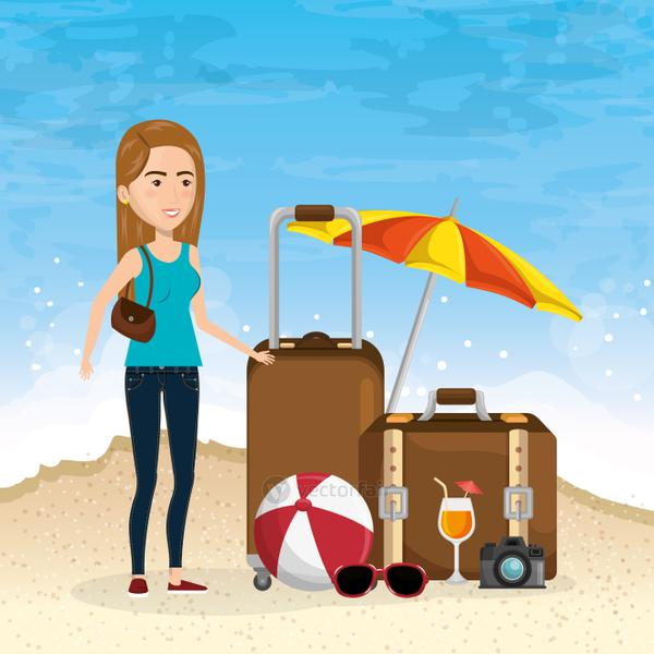 girl in the beach with summer vacations icons