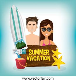couple with summer vacations set icons