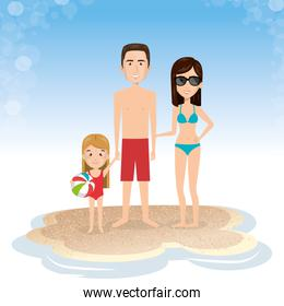family in the beach summer vacations
