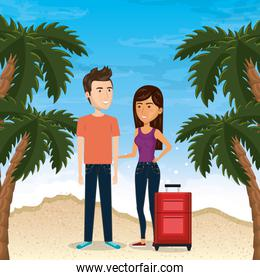 couple in the beach summer vacations