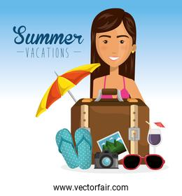 girl with summer vacations elements