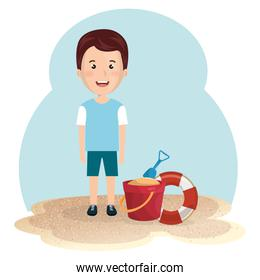 little boy in the beach summer vacations elements