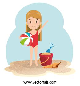 little girl in the beach with elements