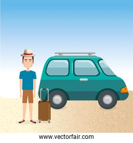young man in the beach with suitcase and car