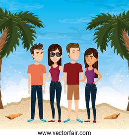 friends in the beach summer vacations