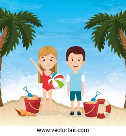 little kids in the beach summer vacations elements