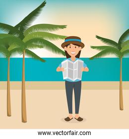young woman in the beach summer vacations