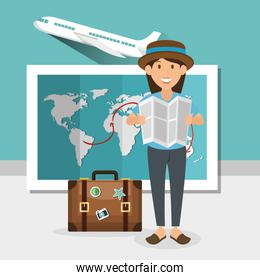 girl with summer vacations set icons