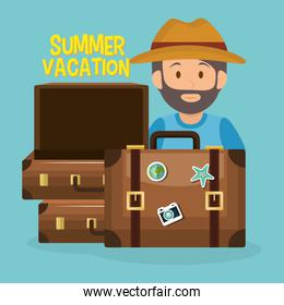 man with summer vacations set icons