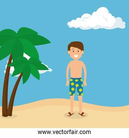 young man on the beach summer vacations