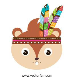 cute and tender chipmunk with feathers hat
