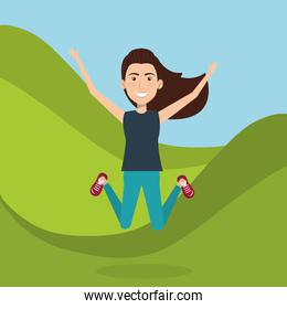 woman celebrating in the field