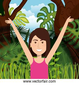 woman celebrating in the jungle