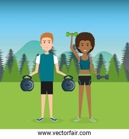 people weight lifting in the field