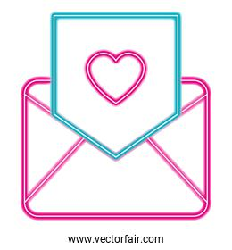 envelope with heart love in neon lights