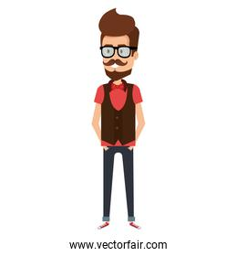 young man with beard and glasses hipster style