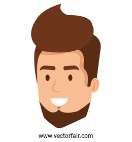young man head with beard avatar character