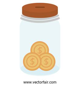 glass jar with coins money