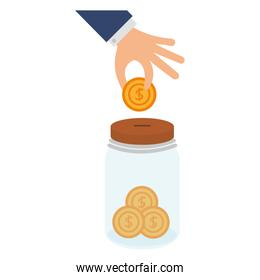 hand with coin insert in jar