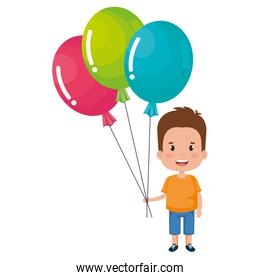 happy little boy with balloons air character