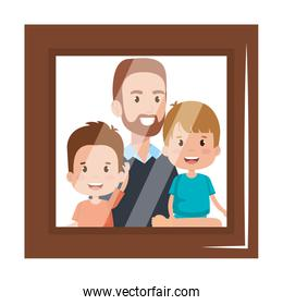 portrait of father lifting sons characters