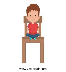 pretty boy sitting in chair wooden character