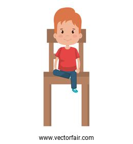little boy sitting in chair wooden character